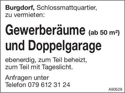 Gewerberäume und Doppelgarage, Burgdorf, zu vermieten