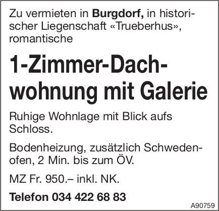 1-Zimmer-Dachwohnung mit Galerie, Burgdorf, zu vermieten
