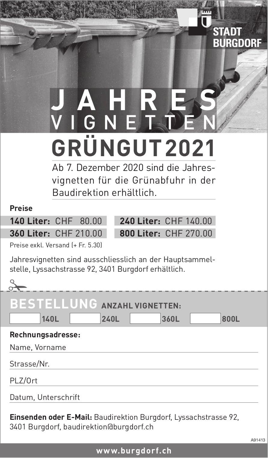Stadt, Burgdorf - Jahresvignetten Grüngut 2021