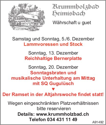 Währschaft u guet im Dezember, ab 5. Dezember, Krummholzbad, Heimisbach