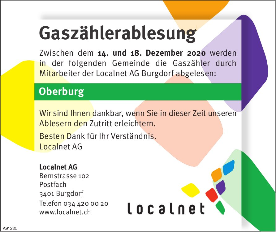 Localnet AG, Burgdorf - Gaszählerablesung, 14. - 18. Dezember, Oberburg