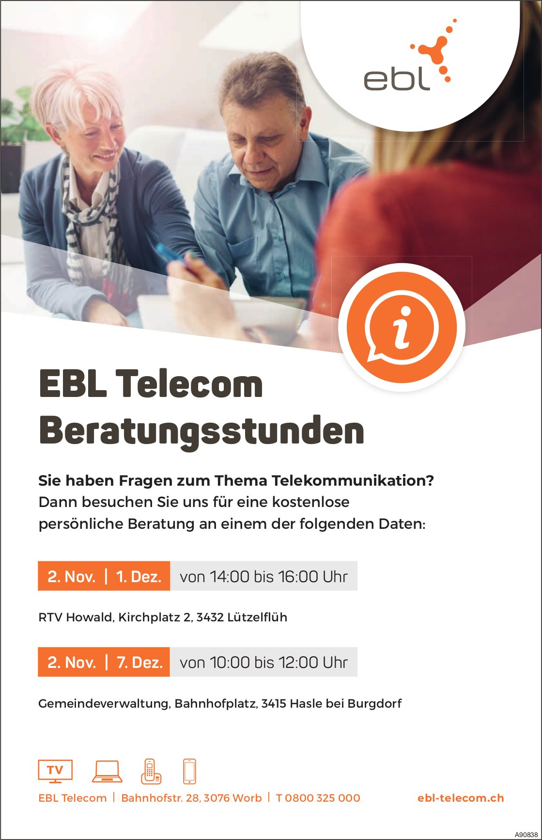 EBL Telecom Beratungsstunden, 7. Dezember, Hasle b. Burgdorf