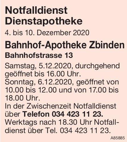 Bahnhof-Apotheke Zbinden -  Notfalldienst Dienstapotheke, 4. - 10. Dezember