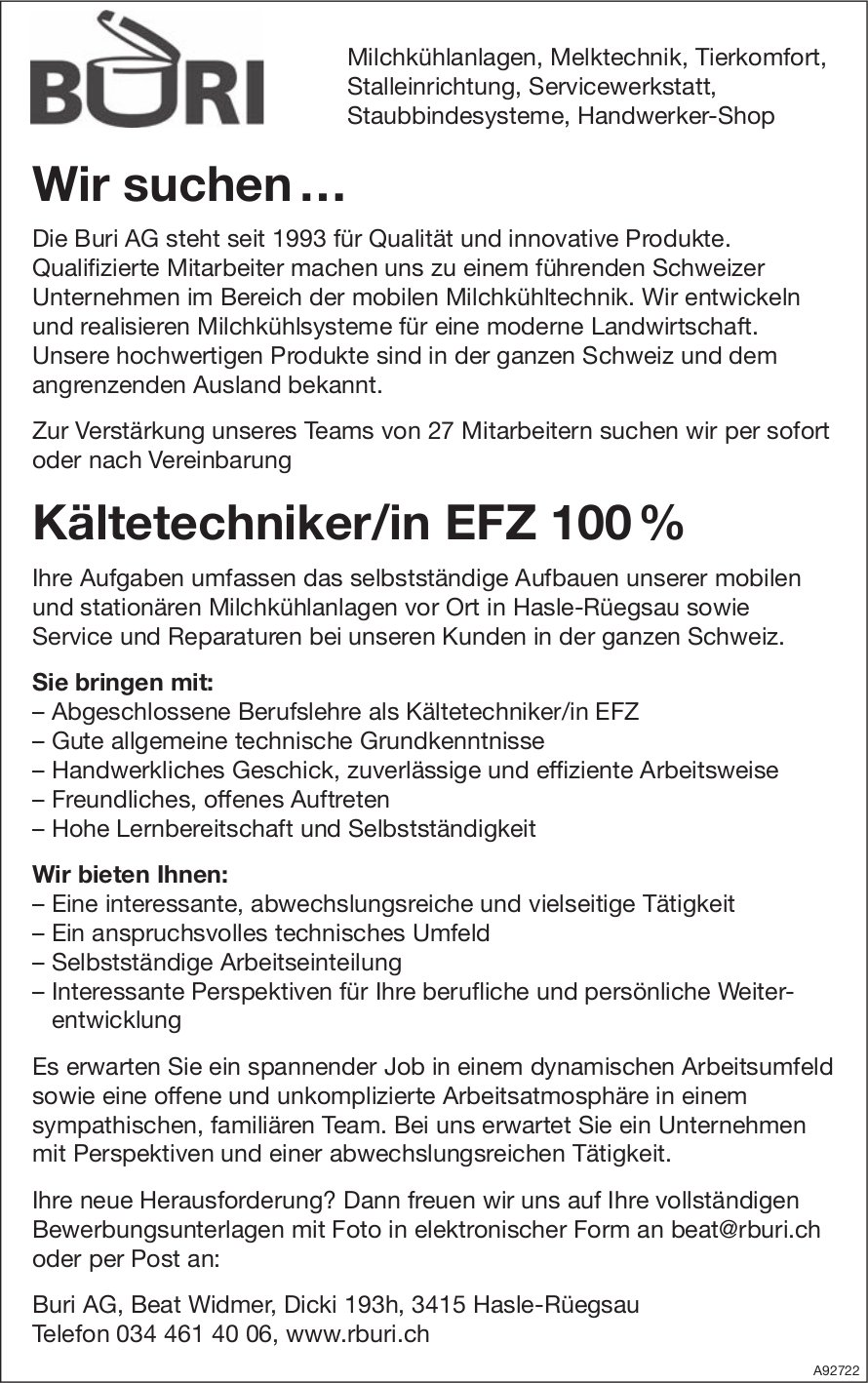 Kältetechniker/in EFZ 100%, Buri AG, Hasle-Rüegsau, gesucht