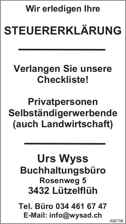 Buchhaltungsbüro Urs Wyss, Lützelflüh - Wir erledigen Ihre Steuererklärung