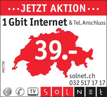 Solnet - ...Jetzt Aktion...1 Gbit Internet & Tel. Anschluss