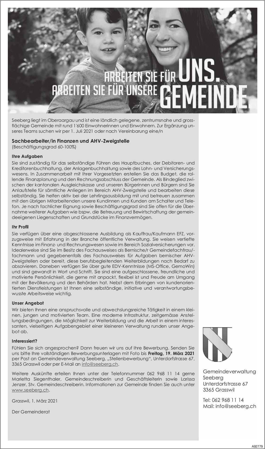 Sachbearbeiter/in Finanzen und AHV-Zweigstelle, Grasswil, gesucht