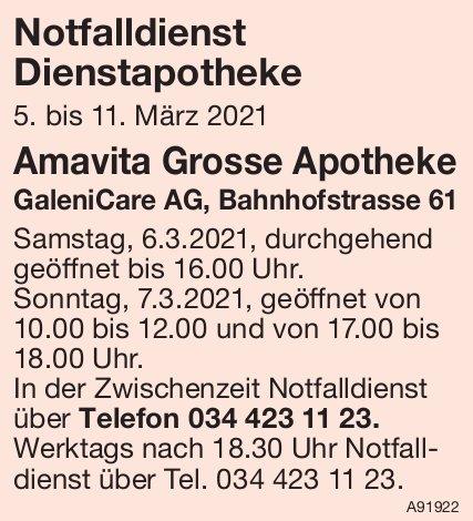 Amavita Grosse Apotheke, GaleniCare AG - Notfalldienst Dienstapotheke,  5. - 11. März