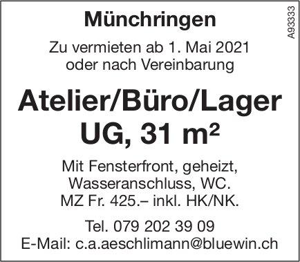 Atelier/Büro/Lager UG, 31 m², Münchringen, zu vermieten