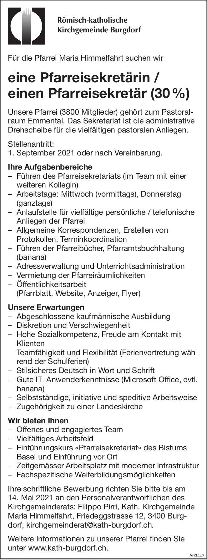 Pfarreisekretärin / Pfarreisekretär (30%), Römisch-katholische Kirchgemeinde, Burgdorf, gesucht