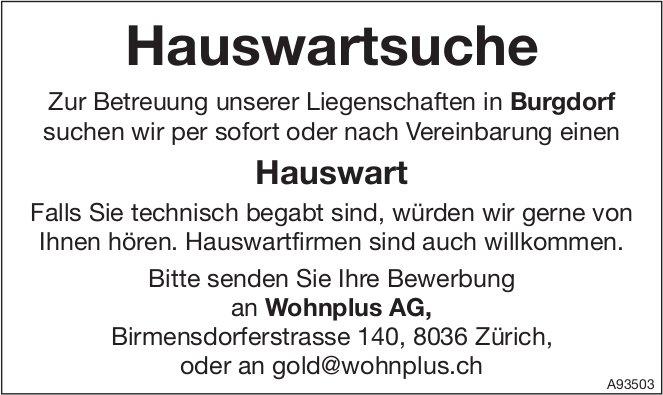 Hauswart, Wohnplus AG, Burgdorf, gesucht