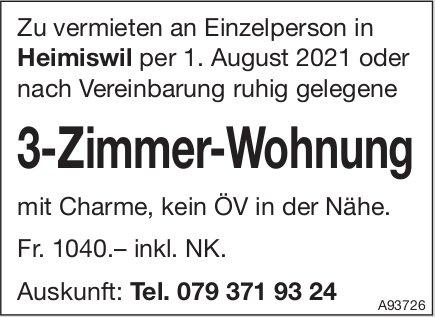 3-Zimmer-Wohnung, Heimiswil, zu vermieten