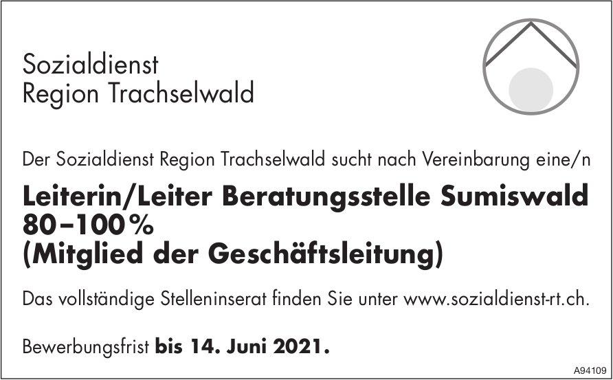 Leiterin/Leiter Beratungsstelle, Sozialdienst Region Trachselwald, Sumiswald, gesucht