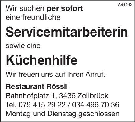 Servicemitarbeiterin & Küchenhilfe, Restaurant Rössli, Zollbrück, gesucht