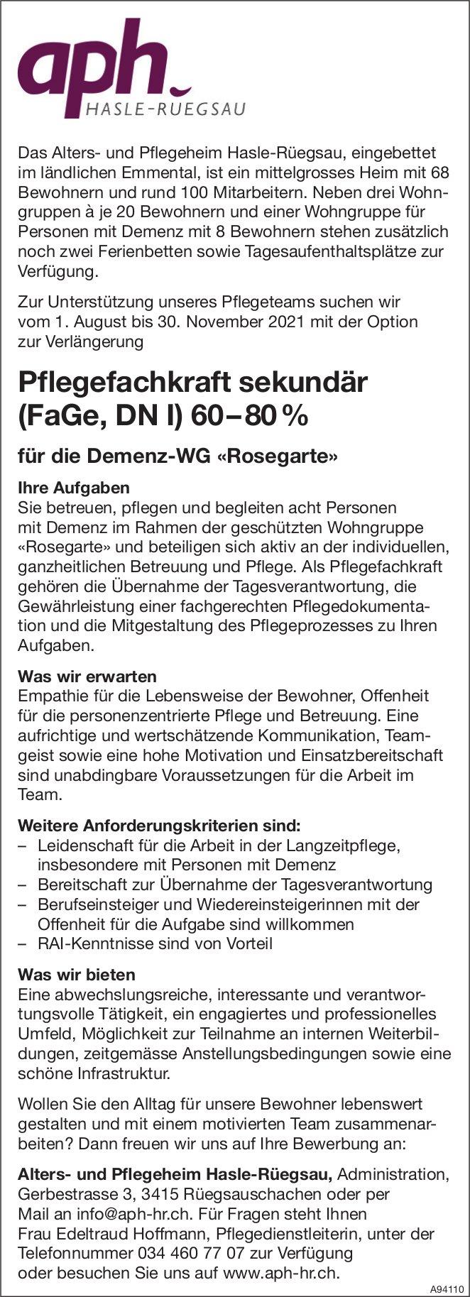 Pflegefachkraft sekundär (FaGe, DN I) 60 – 80 %, Alters- und Pflegeheim Hasle-Rüegsau, Rüegsauschachen,  gesucht