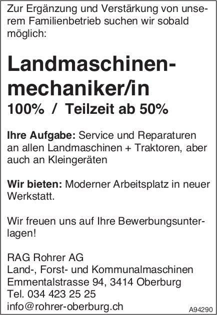 Landmaschinenmechaniker/in, RAG Rohrer AG, Oberburg, gesucht