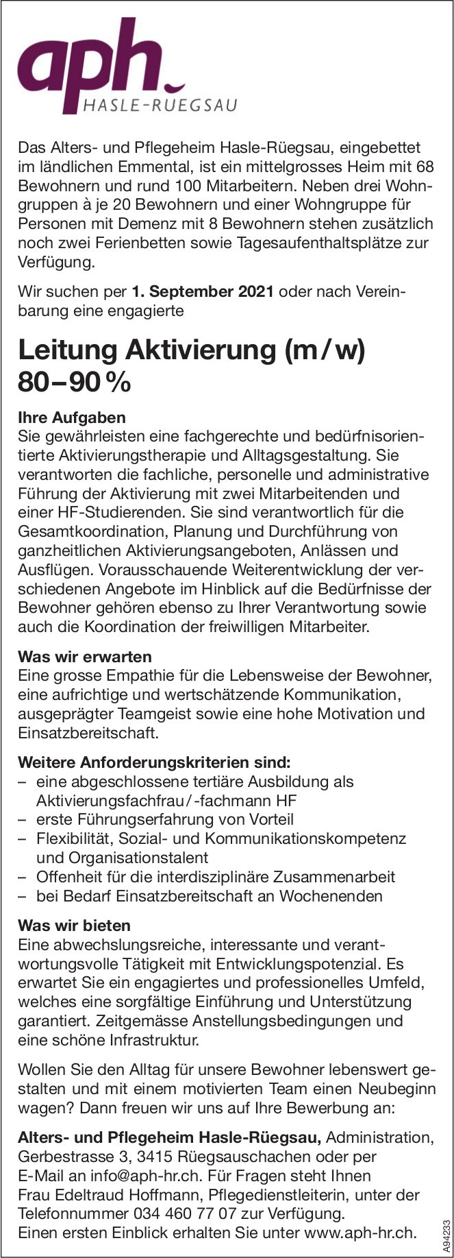 Leitung Aktivierung (m / w) 80 – 90%, Alters- und Pflegeheim Hasle-Rüegsau, Rüegsauschachen, gesucht
