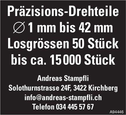 Andreas Stampfli, Kirchberg - Präzisions-Drehteile 1 mm bis 42 mm, Losgrössen 50 Stück bis ca. 15 000 Stück