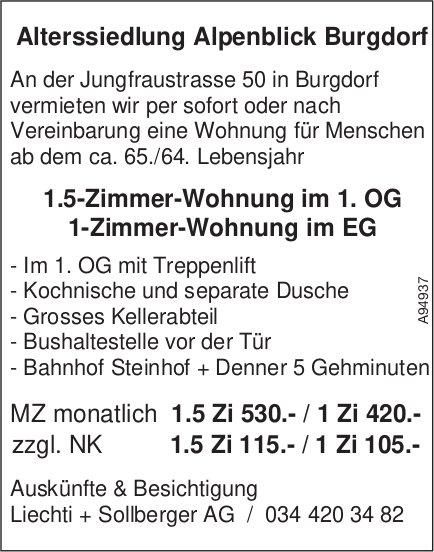 1- und 1.5-Zimmer-Wohnung,  Alterssiedlung Alpenblick, Burgdorf, zu vermieten