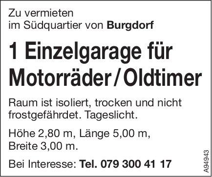 Einzelgarage für Motorräder / Oldtimer, Burgdorf, zu vermieten