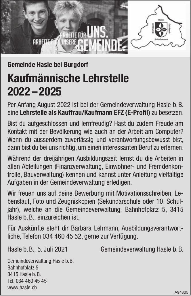 Lehrstelle als Kauffrau/Kaufmann EFZ (E-Profil), Gemeinde, Hasle b. B, zu vergeben
