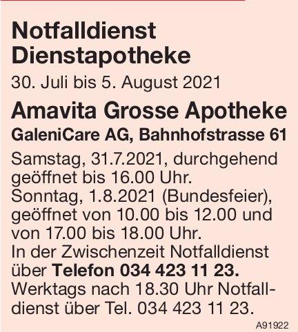 Amavita Grosse Apotheke, GaleniCare AG - Notfalldienst Dienstapotheke,  30. Juli bis 5. August