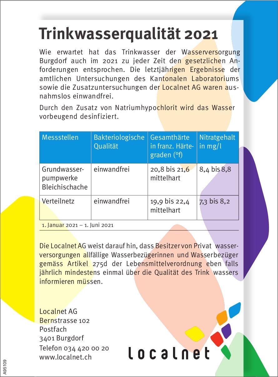 Localnet AG, Burgdorf - Trinkwasserqualität 2021