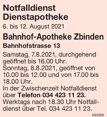 Bahnhof-Apotheke Zbinden - Notfalldienst Dienstapotheke, 6. - 12. August