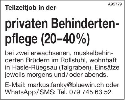 Teilzeitjob in der privaten Behindertenpflege (20–40 %), Hasle-Rüegsau (Talgraben), zu vergeben