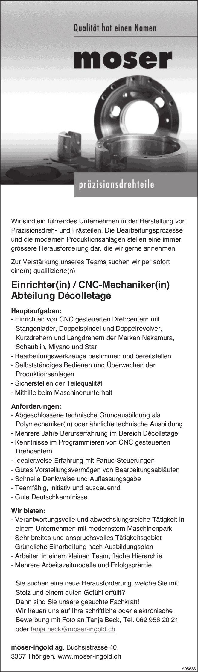 Einrichter(in) / CNC-Mechaniker(in) Abteilung Décolletage, moser-ingold ag, Thörigen, gesucht