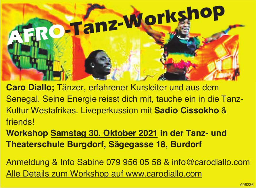 Afro-Tanz-Workshop, 30. Oktober, Tanz- und Theaterschule, Burgdorf
