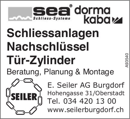 E. Seiler AG, Burgdorf - Schliessanlagen, Nachschlüssel, Tür-Zylinder
