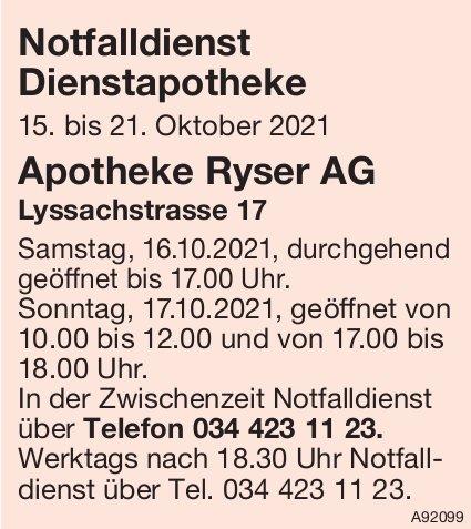 Apotheke Ryser AG - Notfalldienst Dienstapotheke, 15. - 21. Oktober
