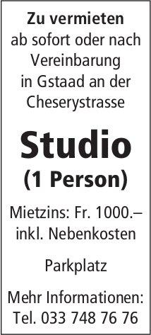 Studio (1 Person), Gstaad, zu vermieten
