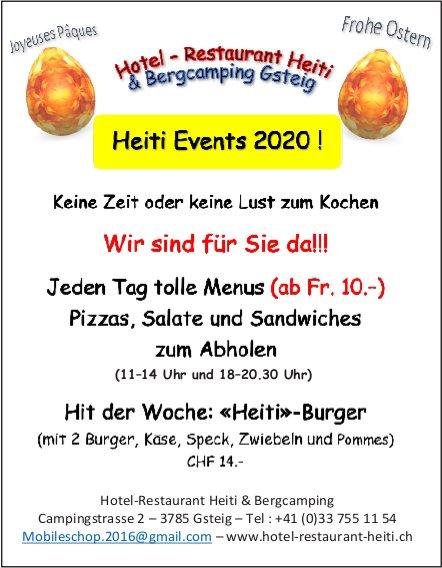 Hotel-Restaurant Heiti & Bergcamping, Gsteig - Heiti Events 2020! Wir sind für Sie da!!!