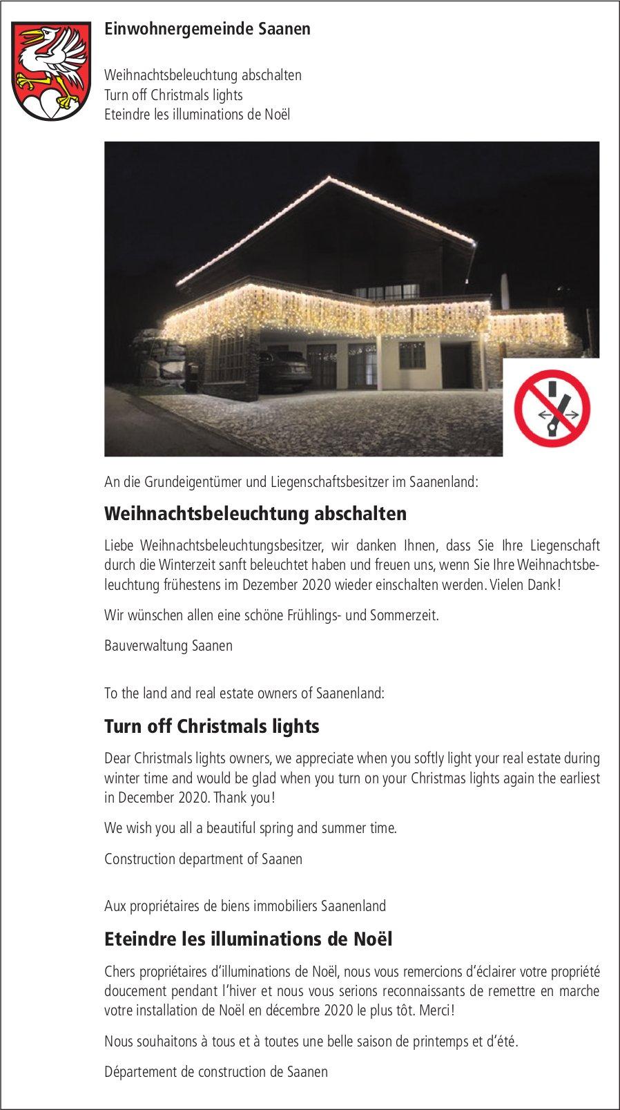 Weihnachtsbeleuchtung abschalten -  Einwohnergemeinde, Saanen