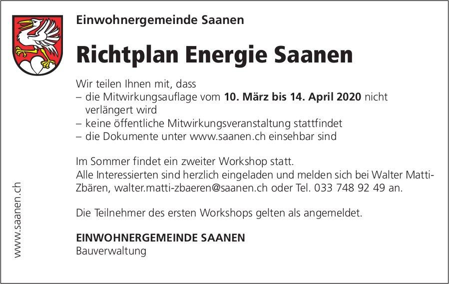 Saanen - Richtplan Energie, Einwohnergemeinde Saanen
