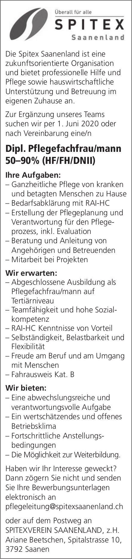 Dipl. Pflegefachfrau/mann 50–90% (HF/FH/DNII), SPITEXVEREIN SAANENLAND,  Saanen, gesucht