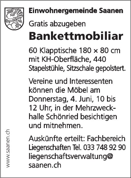 Saanen - Gratis abzugeben: Bankettmobiliar