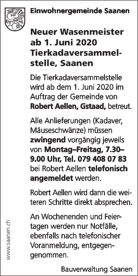 Saanen - Neuer Wasenmeister ab 1. Juni 2020 Tierkadaversammelstelle