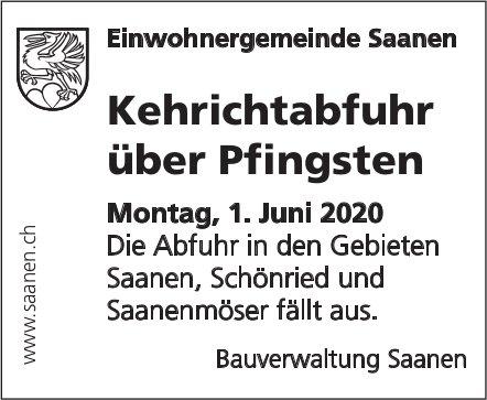 Bauverwaltung, Saanen - Kehrichtabfuhr über Pfingsten