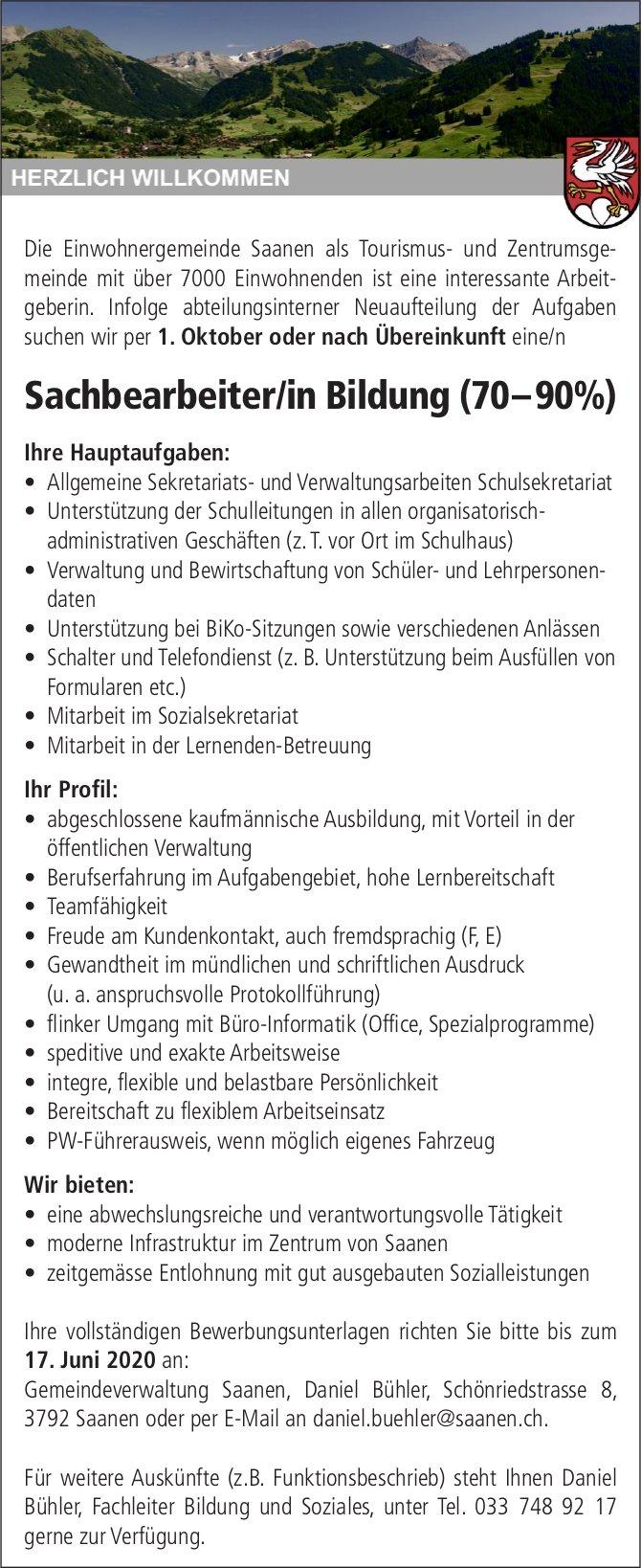 Sachbearbeiter/in Bildung (70–90%), Gemeinde,  Saanen, gesucht