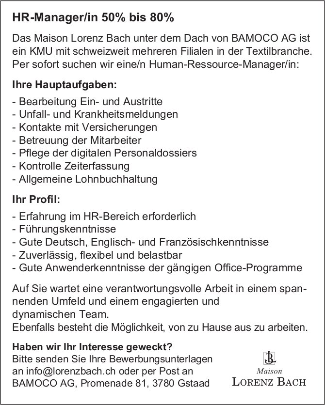 HR-Manager/in 50% bis 80%, BAMACO AG, Gstaad,  gesucht