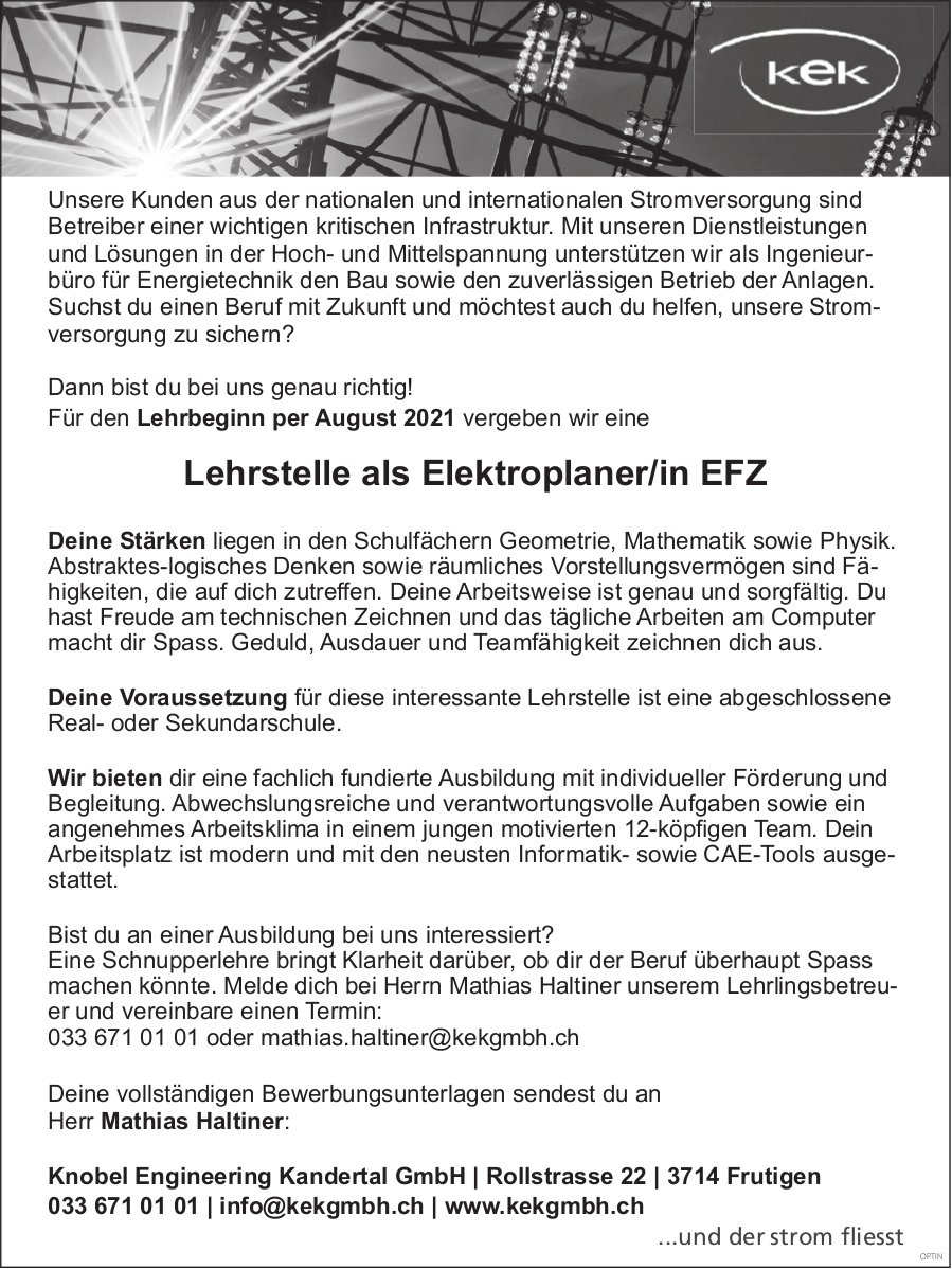 Lehrstelle als Elektroplaner/in Efz, Knobel Engineering Kandertal Gmbh,  Frutigen, zu vergeben