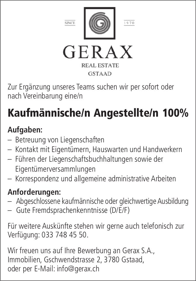 Kaufmännische/r Angestellte/r 100%, Gerax SA, Gstaad, gesucht