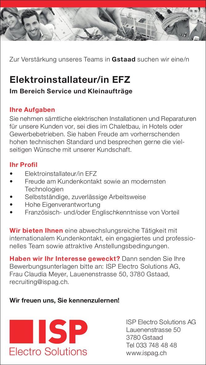 Elektroinstallateur/in EFZ, ISP Electro Solutions AG, Gstaad,  gesucht
