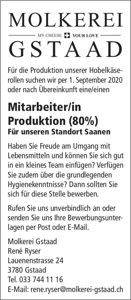 Mitarbeiter/in Produktion (80%), Molkerei Gstaad, Gstaad, gesucht