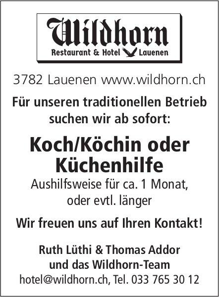 Koch/Köchin oder Küchenhilfe, Restaurant & Hotel Wildhorn, Lauenen,  gesucht