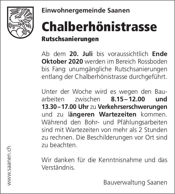 Einwohnergemeinde, Saanen - Chalberhönistrasse,  Rutschsanierungen