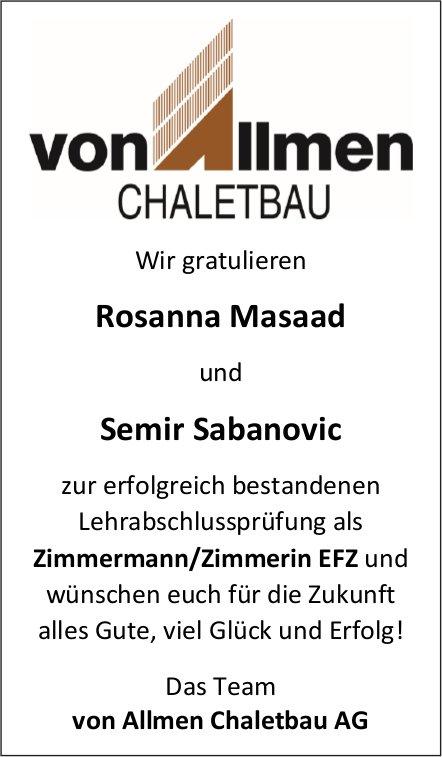 Wir gratulieren Rosanna Masaad und Semir Sabanovic zur erfolgreich bestandenen LAP